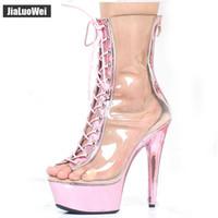 botas de plataforma de tobillo claro al por mayor-2018 Nuevas sandalias atractivas Boots 15CM High Summer Heels Transparente con cordones Back Zip Peep Toe Platform Mujeres Botines Metálicos Rosa