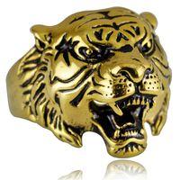 männer tiger ringe großhandel-Wholesale Super Qualität Punk Rock Herren Biker Ringe Vintage Gothic Skeleton Silber Schmuck 18K Gold überzog Tiger Skull Ring Männer uns Größe