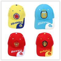 Wholesale girls sunhats - World Cup Football ball Cap 2018 Russia FIFA Player baseball Caps Fans gifts Hats Brazil team logo hat Soccer Fans Souvenir Designer sunhat