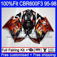 1995 cbr f3 için fairings toptan satış-HONDA CBR600RR CBR 600F3 CBR600F3 için enjeksiyon 95 96 97 98 2MY.0 CBR600FS CBR600 F3 FS CBR 600 F3 1995 1996 1997 1998 Fairing Turuncu siyah