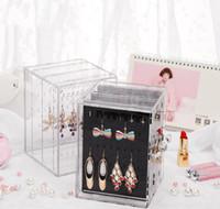ingrosso chiodi la scatola d'arte-Gioielli di cristallo trasparente PS che mostra mensola trasparente Collana Bracciale Rack Orecchini Hanger Box Nail Art Display Stand Organizzatore