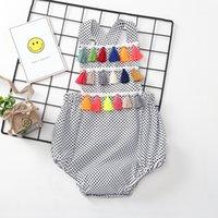 Wholesale Kids Tassels Clothes - Baby tassel romper cotton 2018 new summer infant Dot Jumpsuits Boutique Kids Climbing clothes C3840