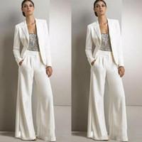 maillot de smoking femme achat en gros de-2019 Blanc Modeste Bling Paillettes Pantalon Costumes Mère De La Robes De Mariée Formelles Smokings En Mousseline De Soie Femmes Parti Porter