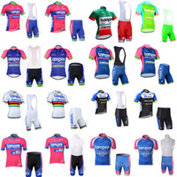 Wholesale lampre cycling - LAMPRE NETAPP team Cycling Short Sleeves jersey (bib) shorts sets racing sportswear bike cycling breathable Clothes E0550