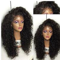 ingrosso lunghe parrucche ricciate sintetiche-Parrucche afro-americane a buon mercato 150% lunghe parrucche sintetiche nere afro crespo ricci resistenti al calore parrucche glueless anteriore del merletto per le donne nere