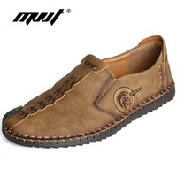 Wholesale loafer moccasin flat shoes online - Comfortable Men Casual Shoes Loafers Men Shoes Quality Split Leather Shoes Men Flats Hot Sale Moccasins Plus Size New