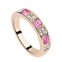 anéis de banda de cristal austríaco venda por atacado-Bandas de moda rose banhado a cor de ouro anéis para as mulheres com o oceano de cristal austríaco anillos de matrimonio de oro