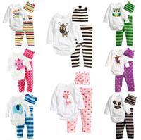 ropa de calidad para niños pequeños al por mayor-Lindo bebé niño niñas animales recién nacidos traje con sombrero niño mono de moda traje mameluco infantil + pantalón + sombrero 3 unids / set traje de ropa de calidad superior