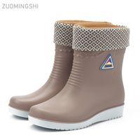 kaymayı önleyici çizme toptan satış-Kış sıcak yağmur botları kadın su geçirmez botlar araba yıkama ayakkabı moda kaymaz iş ayakkabıları