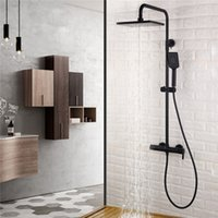 Wholesale Brass Shower Sets - Matt Black 3 Functions Brass Bathroom Shower Set Bath Shower Faucet 9 Inch ABS Shower Head Adjust Arm
