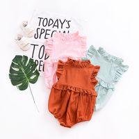 bebek tulum pembe pembe toptan satış-2019 Ins Bebek kız giyim Tulum Ruffles Kolsuz Tatlı kız kısa Tulum% 100% pamuk pembe Yaz