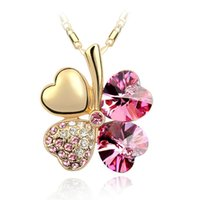 Wholesale red amethyst - 7 Colors Clover Crystal Pendants 18K Golden Sliver Chain Swarovski Amethyst Jewelry Rhinestone Choker for Women
