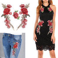 ingrosso accessori da fiore per cappelli-HOT ONE PAIR Ricamo Rose Flower Sew On / ferro su Patch Dress Hat Bag Jeans Applique Artigianato Abbigliamento Accessori