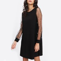 Wholesale beaded office dress for sale - Group buy DSQUAENHD Office Ladies Casual Mesh Stitching Beaded Dress Long Puff Sleeve Patchwork Summer O Neck Loose Slim Dress Plus Size