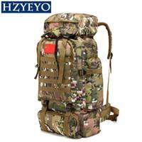 wasserdichte campingtaschen großhandel-HZYEYO Outdoor Tactical Military Rucksack 70L Klettern Taschen Wasserdicht Reise Wandern Trekking Camping Rucksack, B-093