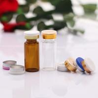 enjeksiyon şişeleri berrak cam toptan satış-10 ML Amber Temizle Boş Cam Flakon Enjeksiyon Şişeleri Kavanoz Konteynerler ile Silikon Butil stoper Kapak Kapalı Kap LX1206