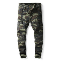мужская толстовка оптовых-Mens Camouflage Patchwork Jeans Long Trousers Denim Pencil Pants Slim Multiple Pockets Overalls Mens Fashion Fit Jeans Free Shipping