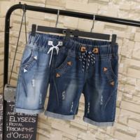 Wholesale wide leg shorts plus size resale online - Spliced Plus Size XL XL Summer Ripped Jeans Short Pants Women Casual Lace Up Capris Ladies Wide Leg Denim Jeans Harem Pants