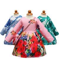 vestido estampado venda por atacado-Vestido de Festa de Manga Comprida Menina Floral Impresso Criança Crianças Crianças Roupas com Saco