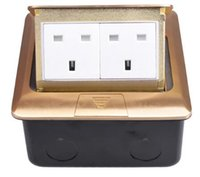 Wholesale ups power metal - Pure Copper Thicken Panel 13A UK Standard Pop Up Floor Socket Double Power Electrical Outlet AC 110~250V Metal Box