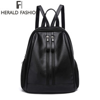 Wholesale Pink Laptops For Girls - Herald Fasion PU Leather Backpacks for Adolescent Girls Zipper Backpack Female Backpack to School Notebooks Laptop College bag