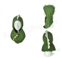 Wholesale cartoon children scarves wraps online - INS Dinosaur Knitted Caps Children Beanies Scarf in Cartoon Wool Hat kids Autumn Winter Keep Warm hats Scarves Wraps sets GGA1023