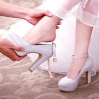 ingrosso sposa da micro vestito-scarpe da sposa scarpe da sposa in cristallo con argento tacchi alti abito da sposa scarpe da damigella femminile 2018 nuovo spessore con impermeabile