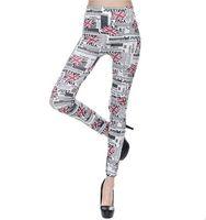 печать лосины флага оптовых-Поддельные Жан Леггинсы Женщины Мода Флаг Письма Печатный Дизайн Белый Эластичный Леггинсы Колготки Одежда