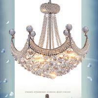 araña de cristal de plata moderna al por mayor-American Crystal Chandeliers LED Modern K9 Lámparas de araña de cristal accesorio de oro plata Lámparas colgantes Salón Sala de estar Inicio Iluminación interior