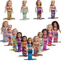 Wholesale Kids Western Dresses - 15 styles glittering mermaid 2pcs set 18 inches American girl doll baby doll clothes accessories the best christmas gift for kids girls