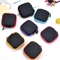 Wholesale Silicone Wallet Men - Wholesale- Candy Colored Silicone Coin Purse Square Bag Waterproof Headset Holder Wallet Gift Men Women Coin Storage Organozer Wallets