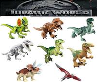 juguete dinosaurio tiranosaurio rex al por mayor-Mini figuras Jurassic Park Dinosaurio niños esquina producciones bloques Velociraptor Tyrannosaurus Rex Bloques de construcción Juegos Niños juguete Ladrillos regalo