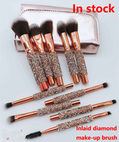 ingrosso spazzole di trucco-2018 New Makeup Brush 10pcs / set Pennelli professionali Powder Foundation Blush Makeup Brushes Ombretto pennello Miele powder make-up brush Kit