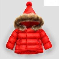 bebekler kışlık şapkalar toptan satış-Bebek Kız Kar Saf Pamuk Kış Ceket Ile Sevimli Rakun Kürk Kapşonlu Şapka Ceket Yeni Doğan Sıcak Rahat Giyim