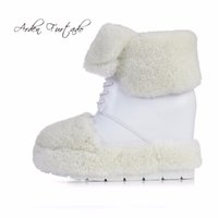 Wholesale wedge ankle wool boots - Arden Furtado 2017 winter lambs wool fur warm fashion ankle boots genuine leather wedges flat platform lace-up plush snow boots