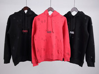 tasarım hoodie erkek toptan satış-18ss Kış Avrupa Fransa Paris Amerikan Moda Lüks Vintage Kırık delik Kazak Rahat Kadın Erkek Kapşonlu Hoodies Streetwear Üst Tasarım