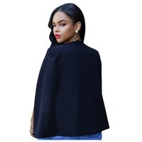 chaquetas largas de negocios para damas al por mayor-Nueva moda para mujer Primavera Otoño Negocio Slim Long Cape Blazer Coat Ladies Cloak Cape OL Traje Chaqueta Coat Outwear elegante