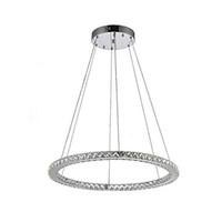 mutfaklar için avize avizeleri toptan satış-24 W D50cm LED Kristal Tavan Lustre Avizeler Paslanmaz Çelik + Temizle Kristal Mutfak Yemek odası Halka Asılı Lamba Fikstür