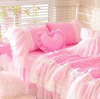 Wholesale Full Bedskirt - Cute pink polka dot bedding set teen girl,cotton twin full queen king single double home textile bedskirt pillowcase quilt cover