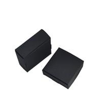 cajas de jabón kraft negro al por mayor-50 unids / lote 7.5 * 7.5 * 3 cm Jabón hecho a mano Caja de papel de embalaje Joyería Banquete de boda Regalo Craft Almacenamiento Suave Negro Kraft Paquetes de cajas de papel paquetes