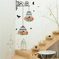 Wholesale cartoon birdcage for sale - Removeable Wall Stickers Wall Painting Birdcage Background Room Decoration