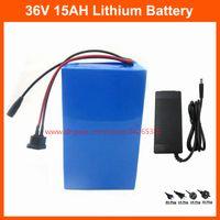 elektrische fahrrad-lithium-batterie 36v 15ah großhandel-Freie elektrische Fahrradbatterie 36V 15AH des Verschiffens 500W 36V Lithium-Fahrradbatterie mit Ladegerät PVC-Fall 15A BMS 42V 2A