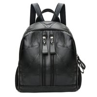 c4732a0552f3 Soft Leather Women s Fashion Backpack 2018 Korean Version Trend Stitching PU  Small Backpack Leisure Multi-Purpose Travel Bag