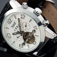 аналоговые часы даты дня оптовых- Black Dial Auto 6 Hands Date Day Tourbillion Analog Stainless Full Steel Band Wrist Dress Mens Mechanical Watch