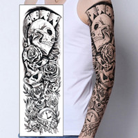 Wholesale Skull Arm - 1PC Temporary Tattoo Sticker Skull clown Poker clock Design Full Flower Arm Body Art Beckham Big Large Fake Tattoo Sticker New