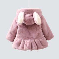 красные девушки зимнее пальто меховое оптовых-детские куртка с капюшоном девушки искусственного меха дети зимнее пальто красный розовый милый принцесса