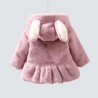 casaco de pele vermelho venda por atacado-Meninas de jaqueta com capuz bebê peles artificiais crianças casaco de inverno rosa vermelha princesa bonito