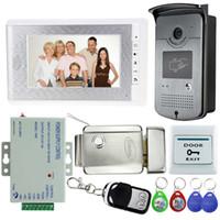 camera lock großhandel-Neue 7 '' verdrahtete Farbe Video-Türsprechanlage Intercom Türklingel Kit Set mit RFID-Zugang IR-Kamera + Elektroschloss + Türschalter + Fernbedienung + Macht