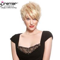 pelucas de encaje hechas al por mayor-PRMIER LACE WIGS 613 Blonde Lace Wigs Pelucas hechas a máquina 100% brasileño Virgin Virgin Hair Corto Pixie Short para American