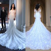 uzun beyaz kilise elbiseleri toptan satış-Romantik Beyaz Uzun Kollu Dantel Mermaid Gelinlik Sweep Tren Kapalı Omuz Düğmeler ile Omuz Sheer Aplikler Backless Kilisesi Gelin Önlükler